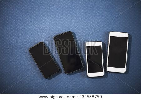 Connection Technology Concept. Smartphones On The Floor With Free Copy Space Background.