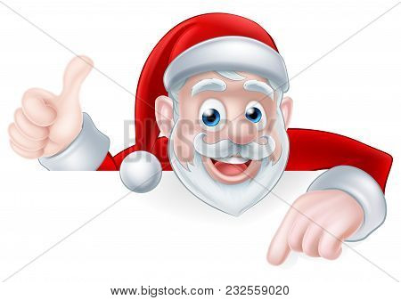 A Christmas Illustration Of A Cartoon Santa Pointing At A Sign And Giving A Thumbs Up