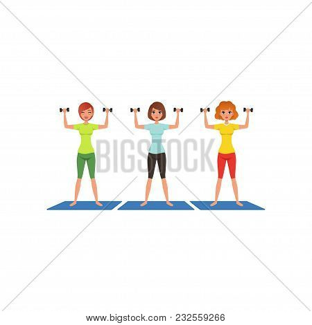 Three Fitness Women Workout With Dumbbells. Cute Young Girls In Gym. Active Lifestyle. Cartoon Peopl