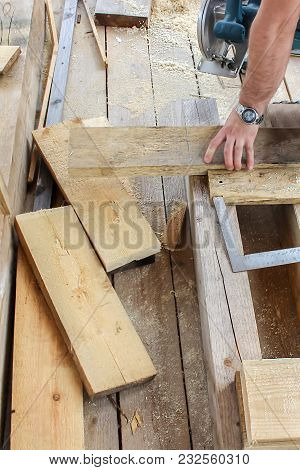 Construction Of A Wooden Frame House - Boards, Tape Measure, Gon, Tools, Cutting And Measuring Of Bo