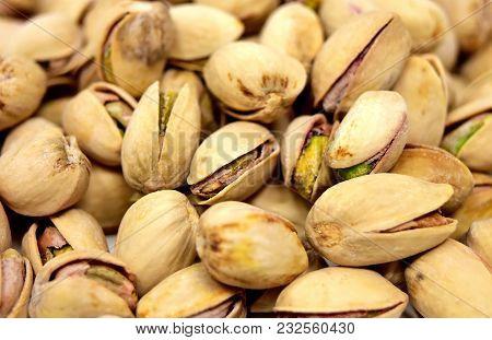 Pistachio Texture. Nuts. Green Fresh Pistachios As Texture. Roasted Salted Pistachio Nuts Healthy De