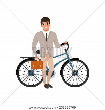 Smiling Guy Standing With Bicycle And Holding Briefcase In Hand. Cartoon Man Character In Stylish Cl
