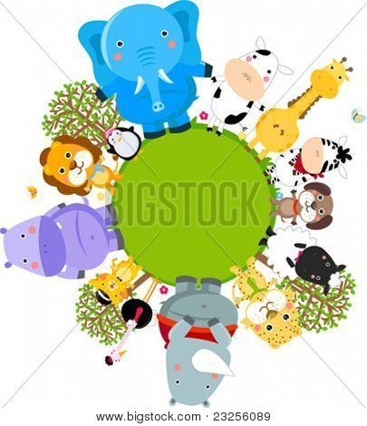 Happy cartoon world globe surrounded by animals