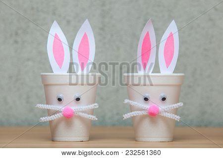 Decorative Rabbits Are Made Of Plastic Glasses.