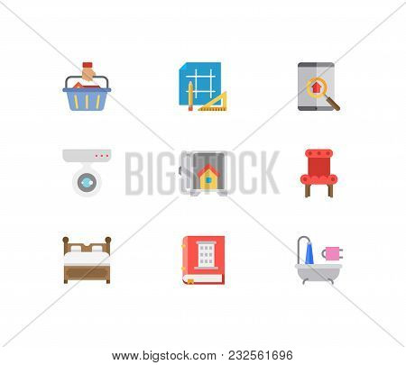 Real Estate Icons Set. Buyer And Real Estate Icons With Chair, Bathroom And Real Estate App. Set Of