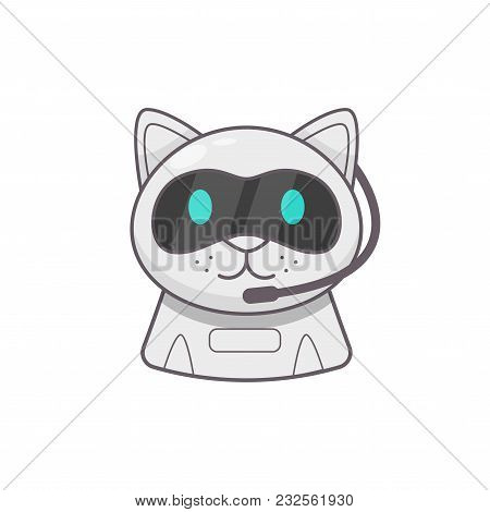 Cute Smiling Working Chat Bot. Chat Bot Robot Icon.