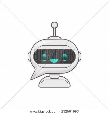 Cute Smiling Working Chat Bot. Chat Bot Robot Icon. Futuristic Machine Character.