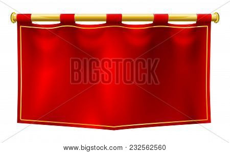 A Medieval Style Red Banner Flag Suspended On A Gold Pole