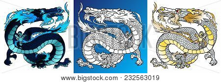 Set Majestic Asian Dragons Colorful Black-blue And White And Line-art Separately On A White Backgrou
