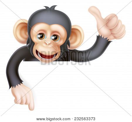 Cartoon Chimp Monkey Like Character Mascot Peeking Above A Sign Giving A Thumbs Up And Pointing Down