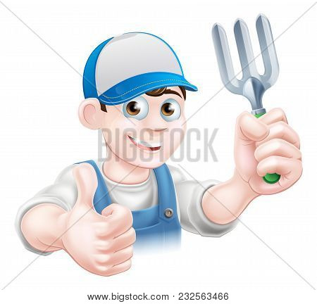 A Cartoon Gardener Character Holding A Garden Fork And Giving A Thumbs Up
