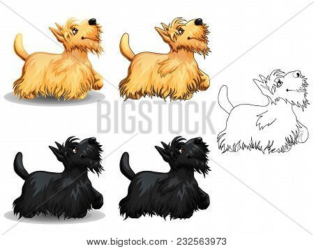 The Set Of Cute Little Dogs Of A Scottish Terrier, Yellow And Black Colors. The Variants Of Colorful