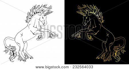 Set The State Proud Unicorns Who Got On Hind Legs Black On White And Gold On Black Line-art. The Pla