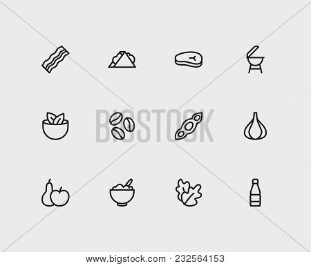 Garlic And Nutrition Icons Set With Bacon, Meat Beef And Soy. Set Of Nutrition Icons Including Healt