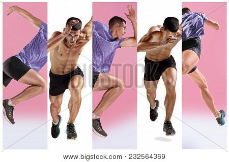 The Studio Shot Of High Jump Athlete Is In Action Isolated On White Background. Collage With One Fit