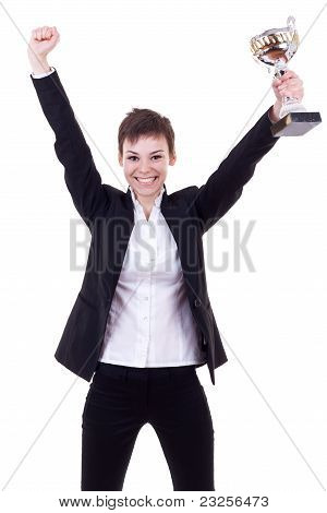 Excited Young Business Woman