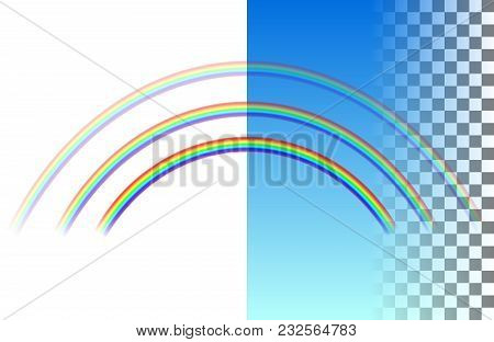 Threefold Semicircular Translucent Rainbow On The White And Blue Transparent Background. Realistic V