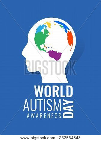 World Autism Awareness Day With Colorful Brain World Map Sign In Head Human Baner Vector Design