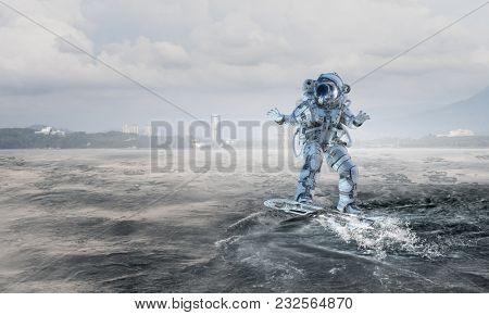 Astronaut on board. Mixed media