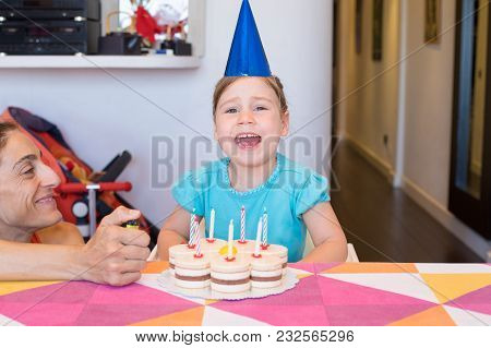 Little Child With Party Cake Shouting