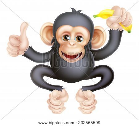 Cartoon Chimp Monkey Like Character Mascot Giving A Thumbs Up And Holding A Banana