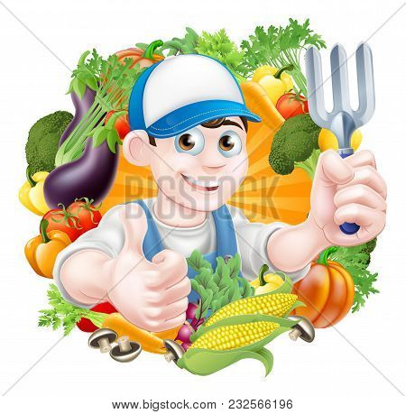Illustration Of A Cartoon Gardener Holding A Garden Fork Tool And Giving A Thumbs Up Surrounded By V