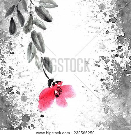 Watercolor And Ink Illustration Of Tree With Leaves And Red Flowers. Grunge Background With Waterspl