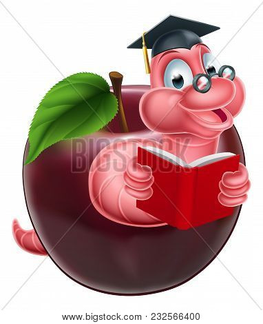 Cartoon Caterpillar Bookworm Worm Or Caterpillar Reading A Book And Coming Out Of An Apple And Weari