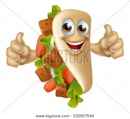 An Illustration Of A Healthy Looking Cartoon Souvlaki Kebab Masacot Man