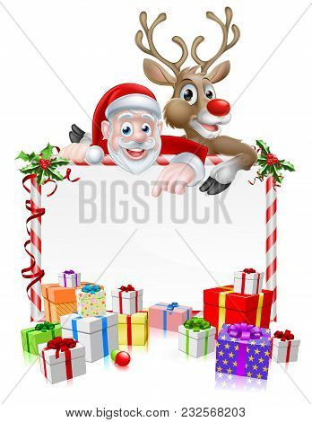 Santa Christmas Cartoon Sign With Cartoon Santa And His Red Nosed Reindeer Peeking Over A Sign With