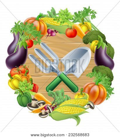 Trowel And Garden Fork Gardening Tools Surrounded By A Circle Border Of Fresh Fruit And Vegetables F
