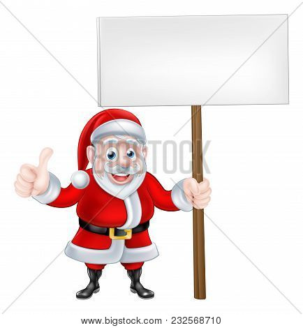 Cartoon Santa Claus Holding A Sign Board And Giving A Thumbs Up
