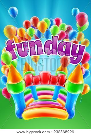 A Bouncy Castle And Balloons Funday Event Invite Poster Background Design