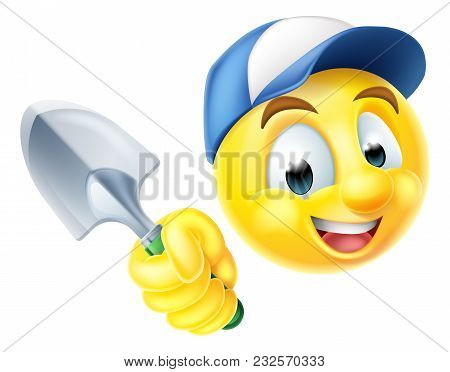 A Cartoon Gardener Emoji Emoticon Icon Holding A Garden Trowel Spade Tool