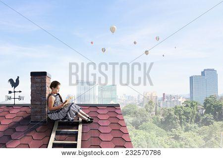 Beautiful girl reading book. Mixed media