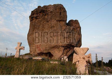 Pidkamin Rock At Golden Hour, Lviv Region, West Ukraine, Summer View