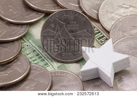 A Quarter Of Rhode Island, Quarters Of Usa And White Star. A Circle Of The Us Quarters With George W