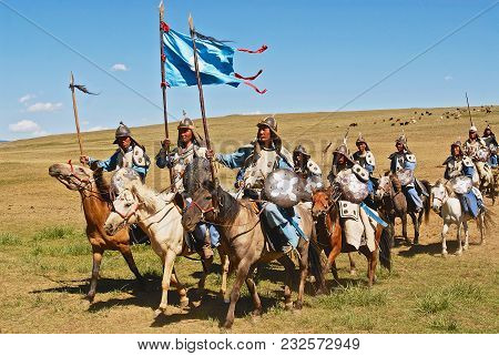 Ulaanbaatar, Mongolia - August 17, 2006: Unidentified Mongolian Horse Riders Take Part In The Tradit
