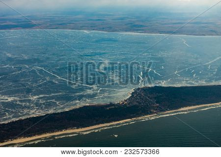 Aerial view of Curonian Spit at winter