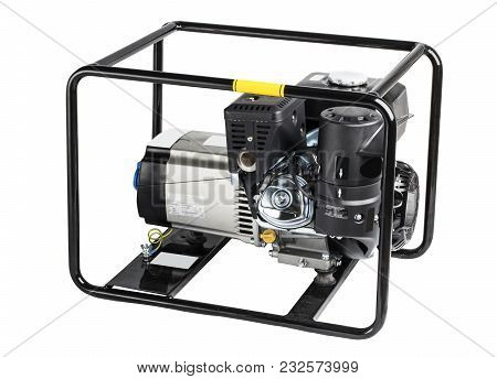 Electric Ac Generator Alternator, Isolated On White - Silver. Portable Gasoline Generator. Isolated