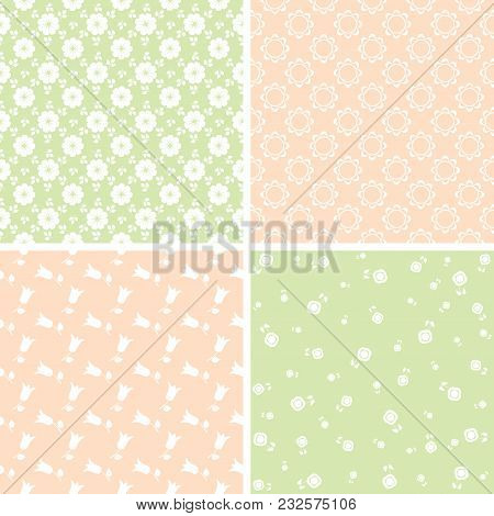 Vector Set Of Seamless Floral Patterns For Scrapbooking In Green, Pink And White Colors.