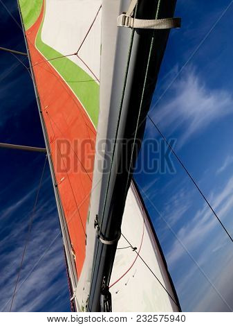 Sail Boat With A Beautiful Blue Sky