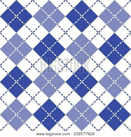 Seamless Argyle Pattern With Dashed Lines In Shades Of Blue.
