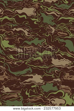 Swirly Camouflage Pattern In Classic Colors Repeats Seamlessly.