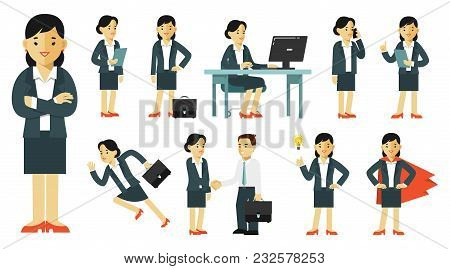 Business Woman In Office With Gestures And Actions