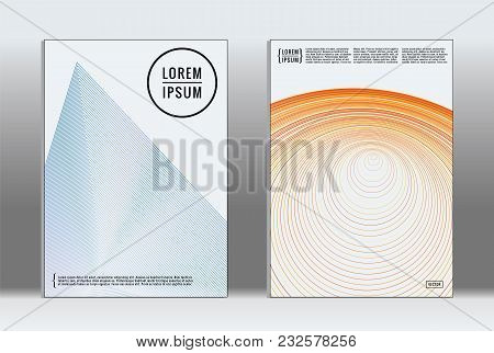 Minimal Placard. Vector Geometric Cover. Hipster Trendy Report Template. Set Of Futuristic Line Grad