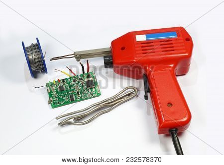 Soldering Set, Transformer Soldering Iron, Printed Circuit Board And Two Types Of Solder