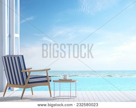 White Pool Villa Terrace 3d Render.there White Wooden Floor. Furnished With White And Blue Chair The