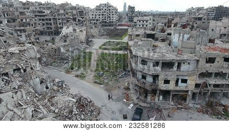 the city of Homs in Syria, in aerial view