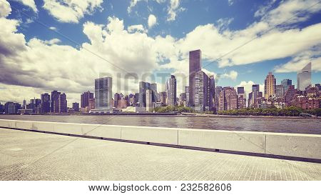 Manhattan Skyline Seen From The Roosevelt Island, Color Toned Picture, New York City, Usa.